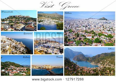 visit Greece collage - greek aerial summer photos