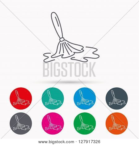 Wet cleaning icon. Clean-up floor tool sign. Linear icons in circles on white background.