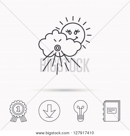 Wind icon. Cloud with sun and storm sign. Strong wind or tempest symbol. Download arrow, lamp, learn book and award medal icons.