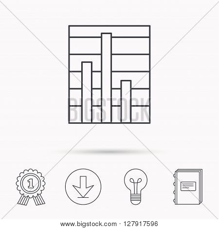 Chart icon. Graph diagram sign. Demand reduction symbol. Download arrow, lamp, learn book and award medal icons.
