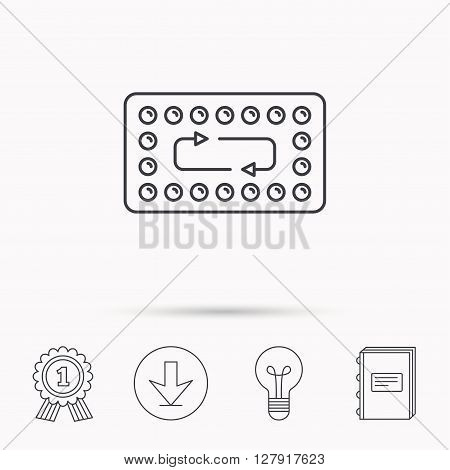 Contraception pills icon. Pharmacology drugs sign. Download arrow, lamp, learn book and award medal icons.