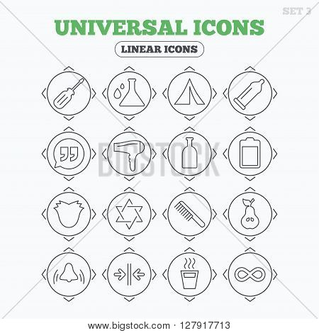 Linear icons with direction arrows. Universal icons. Camping tent, bottle and hot coffee drink. Hair dryer, battery and david star. Screwdriver tool, quotes and camping tent. Circle buttons.