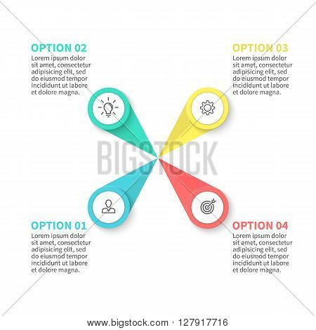 Infographics step by step with  petals. Diagram, chart with 4 steps, options, parts, processes. Vector business template for presentation.