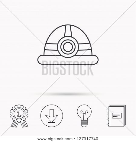 Engineering icon. Engineer or worker helmet sign. Download arrow, lamp, learn book and award medal icons.