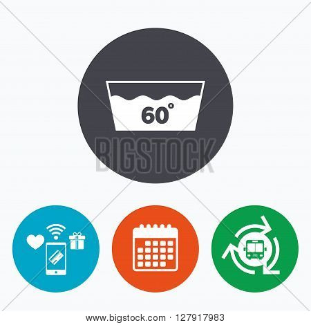 Wash icon. Machine washable at 60 degrees symbol. Mobile payments, calendar and wifi icons. Bus shuttle.