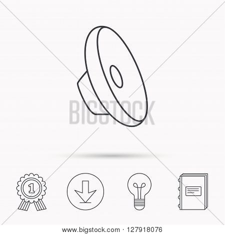 Sound icon. Audio speaker sign. Music symbol. Download arrow, lamp, learn book and award medal icons.