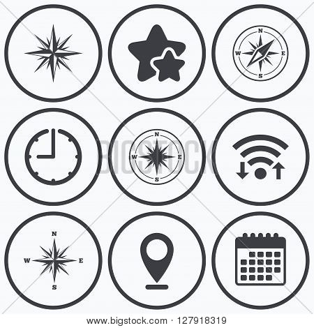 Clock, wifi and stars icons. Windrose navigation icons. Compass symbols. Coordinate system sign. Calendar symbol.
