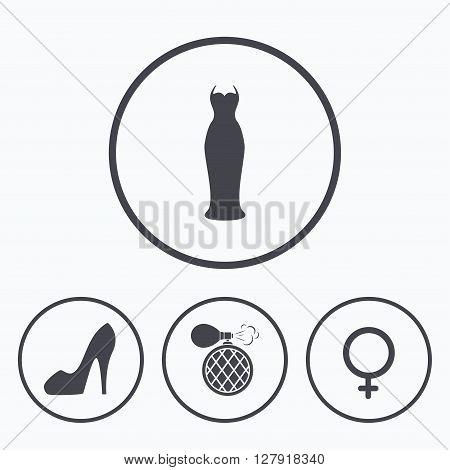 Wedding dress icon. Women shoe sign. Perfume glamour fragrance symbol. Icons in circles.