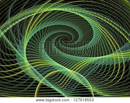 Abstract background - computer-generated green image. Futuristic tunnel or the spiral of twisted threads. Fractal background for banners, posters, web design.