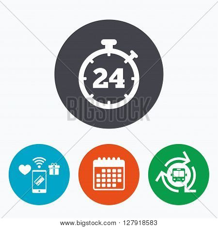 24 hours Timer sign icon. Stopwatch symbol. Customer support service. Mobile payments, calendar and wifi icons. Bus shuttle.