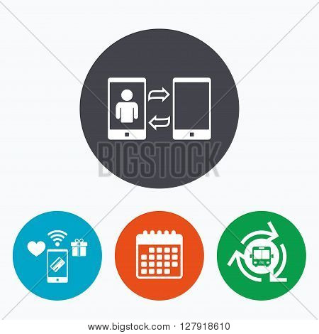 Change Video call to simple call sign icon. Smartphone symbol. Mobile payments, calendar and wifi icons. Bus shuttle.