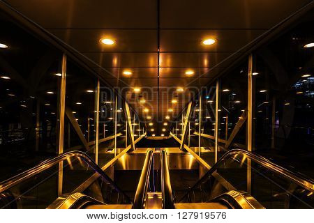 The Hague Netherlands - April 21 2016: Netkous viaduct at Beatrixkwartier with RandstadRail station at night. It is a modern construction designed by Zwarts & Jansma architects