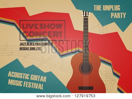 guitar contest poster vintage and retro style
