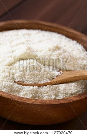 Powdered or dried milk in wooden bowl with small wooden spoon photographed with natural light (Selective Focus Focus on the milk powder on the spoon)
