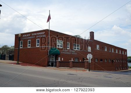 JOLIET, ILLINOIS / UNITED STATES - APRIL 19, 2015: The Joliet Township Government Offices are in downtown Joliet.