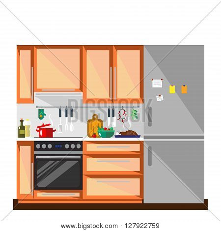Kitchen in flat style - vector illustration. Colorful kitchen and furniture interior. Home kitchen interior design.