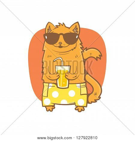 Card with cute cartoon cat in sunglasses and shorts. Cat drinking soda from a glass. Children's illustration. Vector image.