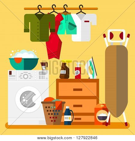 Laundry room in flat style. Wash machine, flasket, ironing board, iron, washing powder, clothes - vector illustration. Laundry clean objects. Cleaning service. Clean laundry vector illustration.