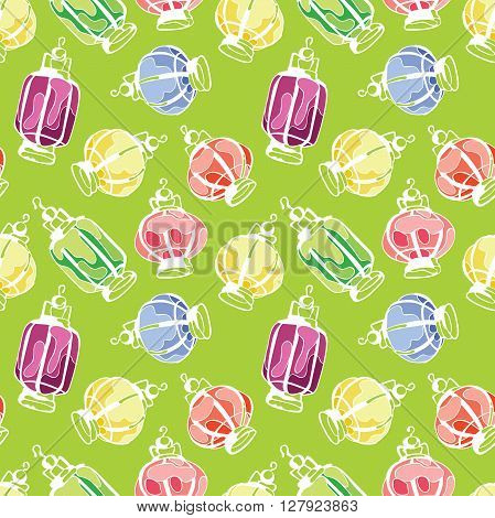 Paper Lanterns. Balloons paper lamps. Paper lanterns in different colors. Vector seamless pattern (background).