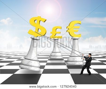 Man Pulling Dollar Sign Of Money Chess On Chessboard