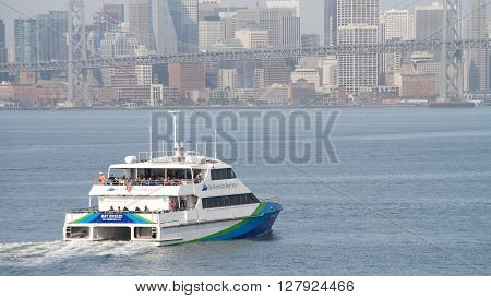 San Francisco Bay Ferry Vessels Bay Breeze Heading Towards San Francisco