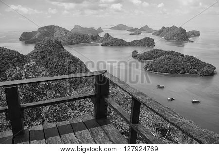 Aerial view of the Mu Ko Ang Thong Islands and National Marine Park with a observation deck. Sunrise at the popular touristic attraction at the area. Black and white