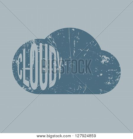 Cloudy vintage scratched Background with Text. Weather Icon. Vector Illustration