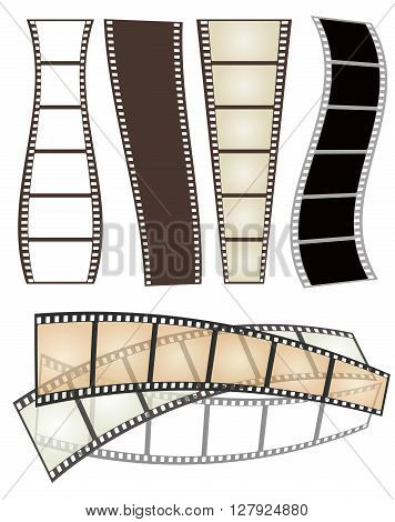 set of various types and forms of film strips on white for Your design. vector illustration