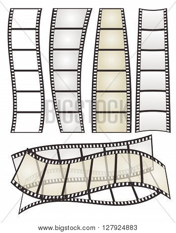 set of film strip with form variation on white for Your design. vector illustration