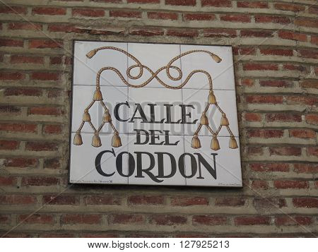 Madrid Spain - April 8 2016: Ornate tile street sign Madrid Spain. Madrid Spain - April 8 2016