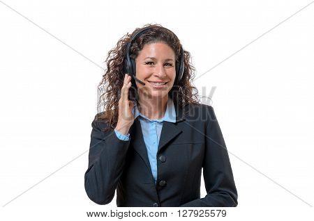 Smiling Helpful Call Center Operator