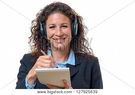 Smiling Friendly Businesswoman In A Headset