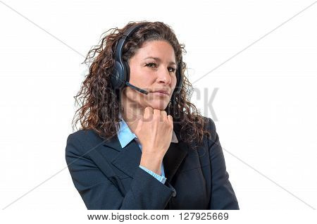 Speculative Businesswoman Wearing A Headset
