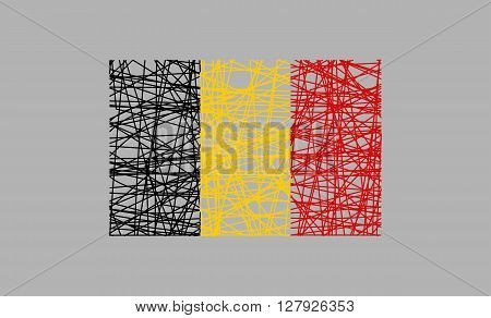 Belgium flag design concept. Flag painted by pencil strokes and country name. Image relative to travel and politic themes