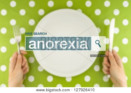 Web search bar glossary term - anorexia definition in internet glossary.