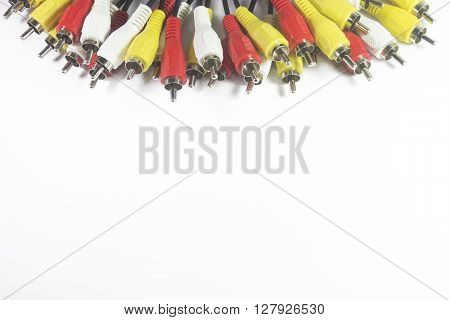multi color rca connectors on white backgrund