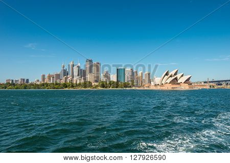 Sydney Australia - November 8 2014: The Sydney Opera and cityscape of Sydney Downtown (CBD) in a beautiful day from harbour Sydney Australia.