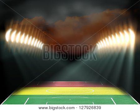 Football stadium with Mali flag textured field. Night scene. 3D rendering
