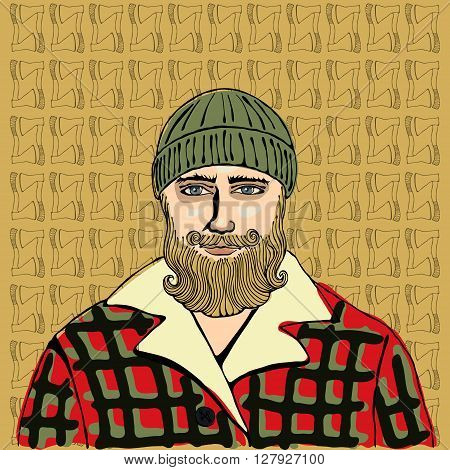 Lumberjack vector. Portrait of a Man on background with axes.