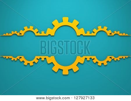 Cog wheels background. Decoration pattern from gears. Precision machinery relative backdrop. 3D rendering