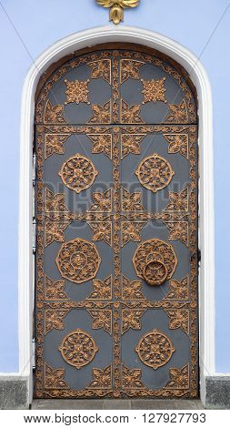 Decorative ornament made of old metal on door