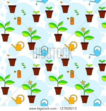 House plant growth and care advice seamless pattern, vector background