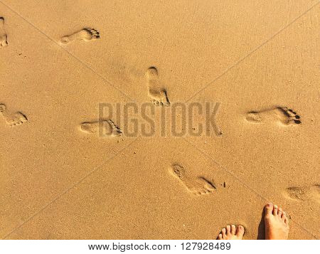 Seaside sand beach photo, close up footprints in the sand and female legs, yellow sand with step marks, vacation by sea, summer holiday, beach life, girl on holiday, beautiful place, Bali, Indonesia