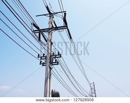 photo of cable power lines on electricity pole