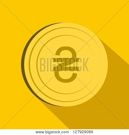 Hryvnia sign icon in flat style on yellow background