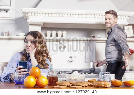 Husband Is Angry Because His Wife Talking On The Phone