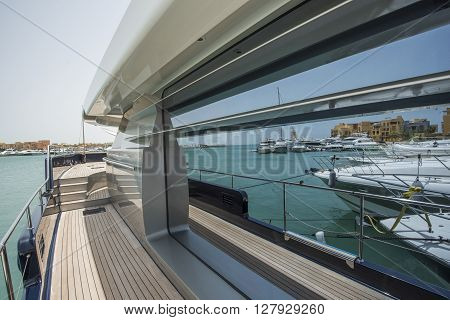 Side Of A Luxury Yacht With Panorama Window