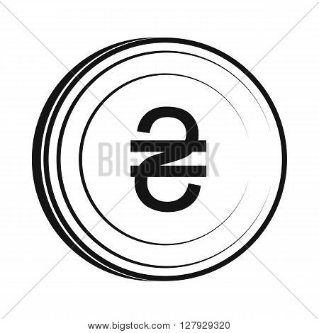 Hryvnia sign icon in simple style isolated on white background