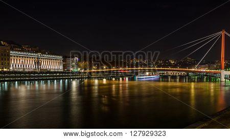 Panorama at night on the Saona river, Lyon, France