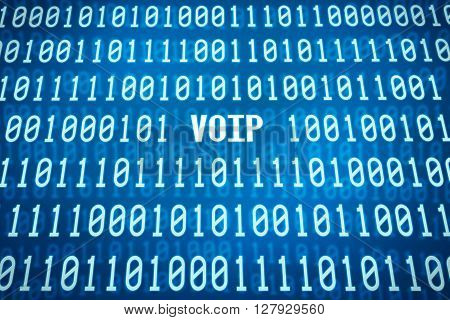Binary Code With The Word Voip In The Center
